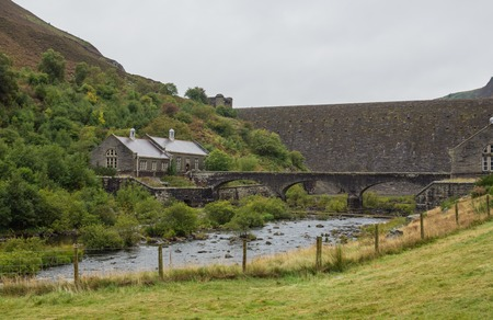 elan: Buildings at one of the dams of the Elan Valley reservoirs in Wales, UK Stock Photo
