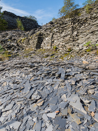 Slate waste heap from the mines in the mountains of Snowdonia, Wales