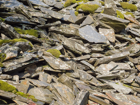 snowdonia: Slate waste heap from the mines in the mountains of Snowdonia, Wales