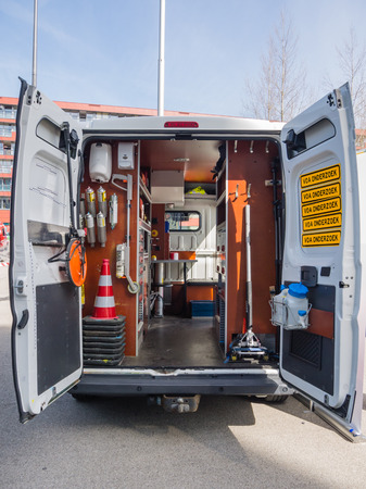 ALMERE, NETHERLANDS - 12 APRIL 2014: Look inside a van of the Dutch forensic investigation service on display during the first National Security Day held in the city of Almere Editorial