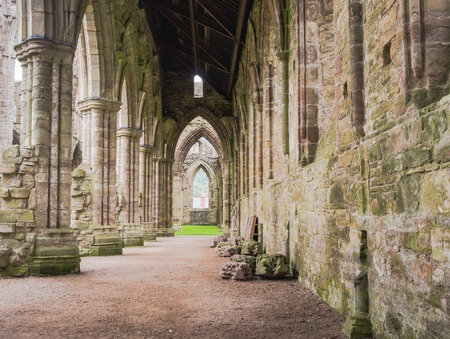 Ruins of Tintern Abbey, a former cistercian church from the 12th Banque d'images
