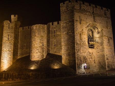 View on Caernarfon Castle at night Editorial