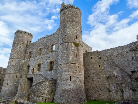 wales: The exterior of Harlech castle in Wales Stock Photo
