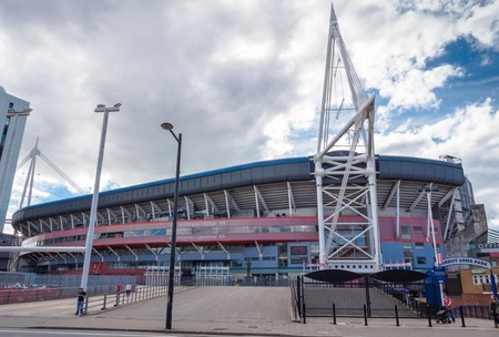 CARDIFF, WALES - 5 OCT. 2013: The Millennium Stadium at Cardiff Arms Park in the centre of Cardiff is primarily used to host national and international rugby games