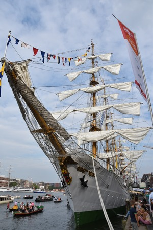 columbian: AMSTERDAM - 21 AUGUST 2015: View on Columbian tall ship Gloria in the port of Amsterdam during Sail 2015. Sail attracts ca. two million visitors