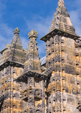 intricate: Intricate carving at rooftop pinnacles of Rosslyn chapel in Scotland
