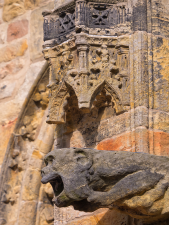 Intricate carvings at ornate Rosslyn chapel in Scotland, made famous by Dan Brown's Da Vinci Code Banque d'images