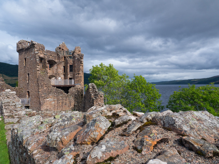 loch ness: Ruins of medieval Urquhart Castle on the borders of Loch Ness, Scotland