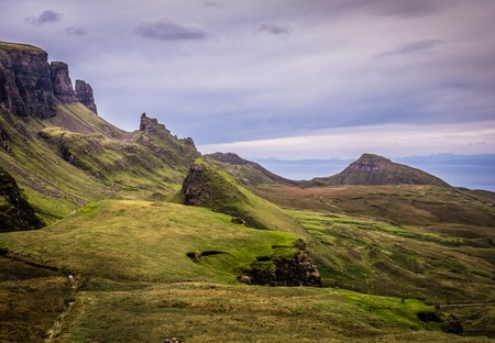 highland: Quiraing mountains on the Isle of Skye, Scotland