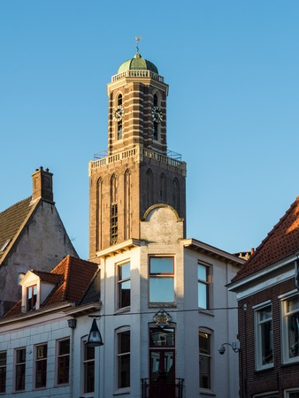pepperbox: Gothic Pepperbox tower in Zwolle, Netherlands is part of the Churh of Our Lady Stock Photo