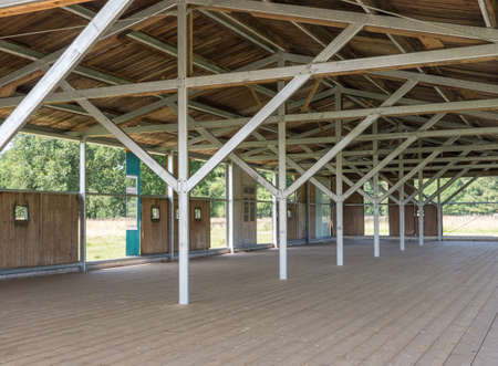 reconstructed: WESTERBORK, NETHERLANDS - 13 AUG. 2015: Reconstructed barracks at former Nazi transit camp Westerbork. In WWII 100.00 jews and roma were transported from here to concentration camps in occupied Poland