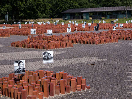 extermination: WESTERBORK, NETHERLANDS - 13 AUG. 2015: Monument at former Nazi transit camp Westerbork. Each stone represents a person who was transported from here to a German Nazi concentration camp during WWII