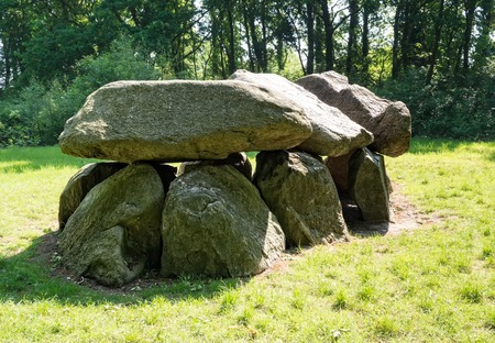 chambered: Prehistoric dolmen, also called a hunebed, in The Netherlands