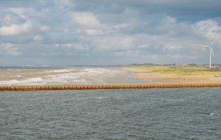 ijmuiden: Dutch coast near IJmuiden as seen from a ferry ship Stock Photo