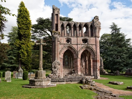 abbey ruins abbey: Ruins of Dryburgh Abbey in the Scottish Borders, the burial place of Sir Walter Scott