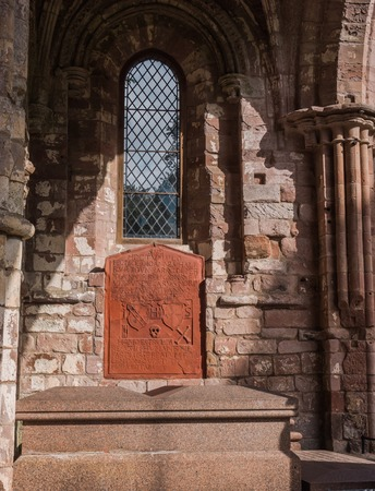 walter scott: Burial place site of Sir Walter Scott at Dryburgh Abbey, Scotland Stock Photo