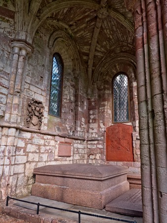 sir walter scott: Burial place site of Sir Walter Scott at Dryburgh Abbey, Scotland Stock Photo