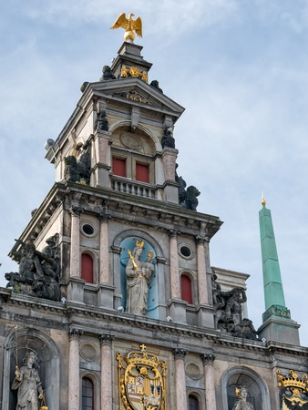 Detail of richly decorated Town Hall at the Great Square or Grote Markt in Antwerp, Belgium