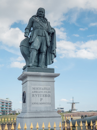 Michiel de Ruyter monument in the port of Vlissingen, Netherlands. De Ruyter, born in Vlissingen, was a very skilled 17th century Dutch admiral