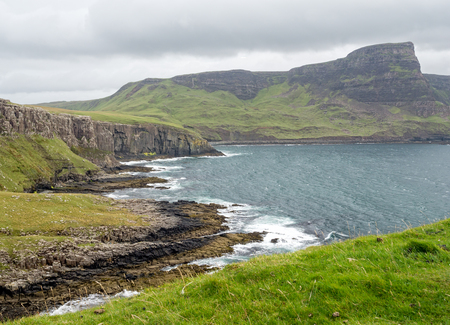 skye: View at Neist Point on the Isle of Skye, Scotland overlooking The Little Minch Stock Photo