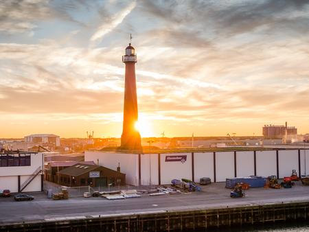 ijmuiden: Sun sets over the port of IJmuiden
