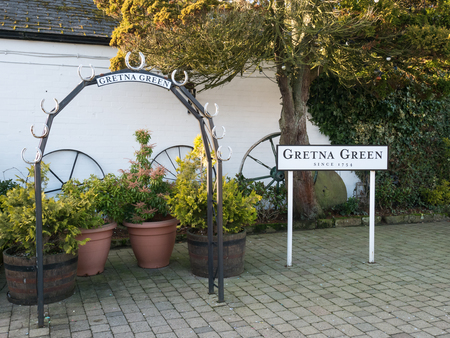 Wedding arch and sign at Gretna Green Stock Photo