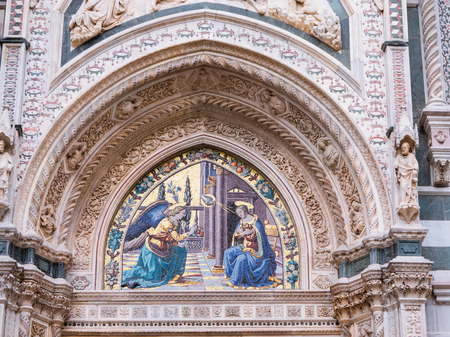 Mosaic at the portal of the Cathedral of Florence depicting the Annunciation by Ghirlandaio brothers