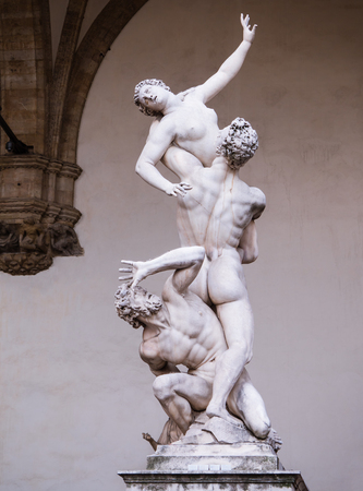 Statue of the rape of the Sabine women in the Loggia dei Lanzi in Florence, Italy
