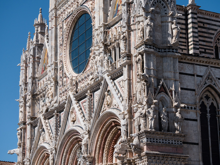 West facade of Siena Cathedral Stock Photo