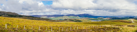 Panoramic view of the Great Glen or Glen More with Loch Knockie in the background Stock Photo