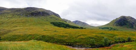Wide view into Glen Etive and the River Etive in the Highlands of Scotland