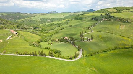 Aerial of cypress road near small village of Monticchiello, Tuscany, Italy