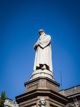 Statue of Leonardo da Vinci in Milan, Italy