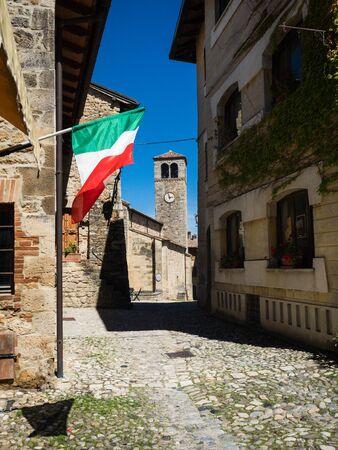 Street in medieval fortress town Vigoleno in Emilia-Romagna, Italy