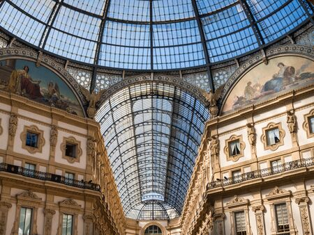 Glass roof of the Galleria Vittorio Emmanuele in Milan, Italy Imagens