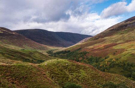 Wide view into Glen Roy in the Highlands of Scotland