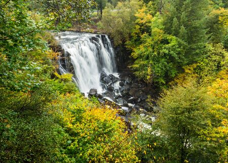 Upper falls of the Waterfall in Aros River in Aros Park near Tobermory on the Isle of Mull, Scotland