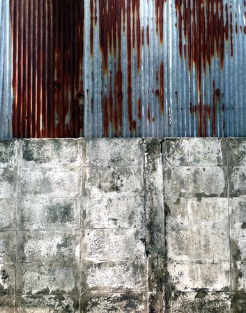iron: Old galvanized iron and wall