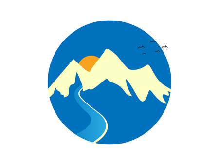 flowing river: Mountain and River Sunny Logo Icon Vector Illustration