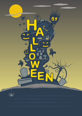 ghost town: halloween party black yellow orange color. ghost town on the mountain under moon night and  input text space