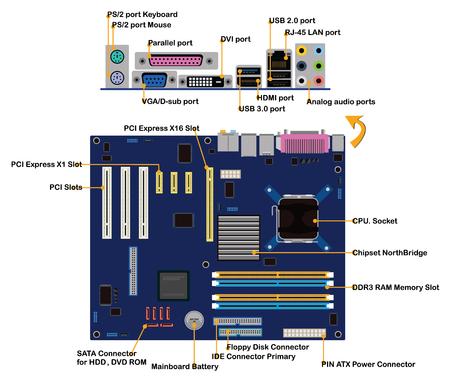 컴퓨터 마더 보드 부품 커넥터 포트 정보 그래픽 벡터 일러스트