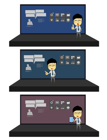 stage chart: Business man presentation in stage officer boss manager project chart vector