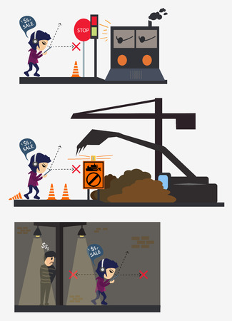 bandit: accident character man play smartphone busy eye not see in road scene construction bandit night  vector illustration