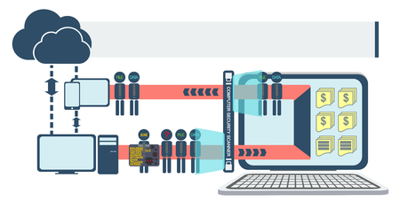 computer viruses: Computer and Network Security infographic characters vector Illustration