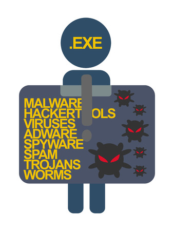 computer viruses: Computer Security characters with label virus hackers folder file .exevector