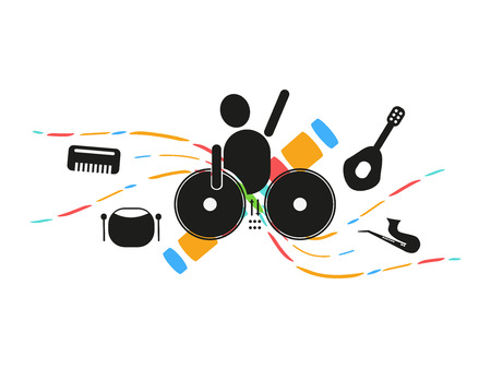 disc jockey: Disc jockey mixing music party logo and icon