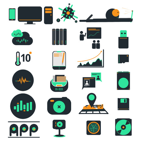 computer icons: Computer icons and phone business vector Illustration