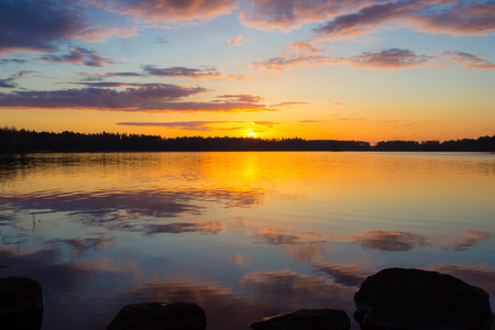 Sunset on the lake Vuoksa photo