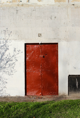 An old red door photo