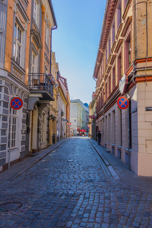 sectarian: RIGA, LATVIA - JUNE 26, 2014. View of street in the Old Town on 26 June 2014.  Old Town is the most popular touristic place in Riga. Editorial